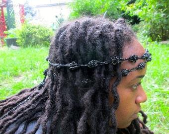 KC Pearls- Crochet Headband/Necklace/Choker/Belt/Crochet Multifunctional Yarn Accessory in Night Star