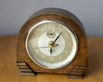 Recycled Clock Weltime Anglesey Clock Company Vintage Wooden Case Mantel Shelf 1930's