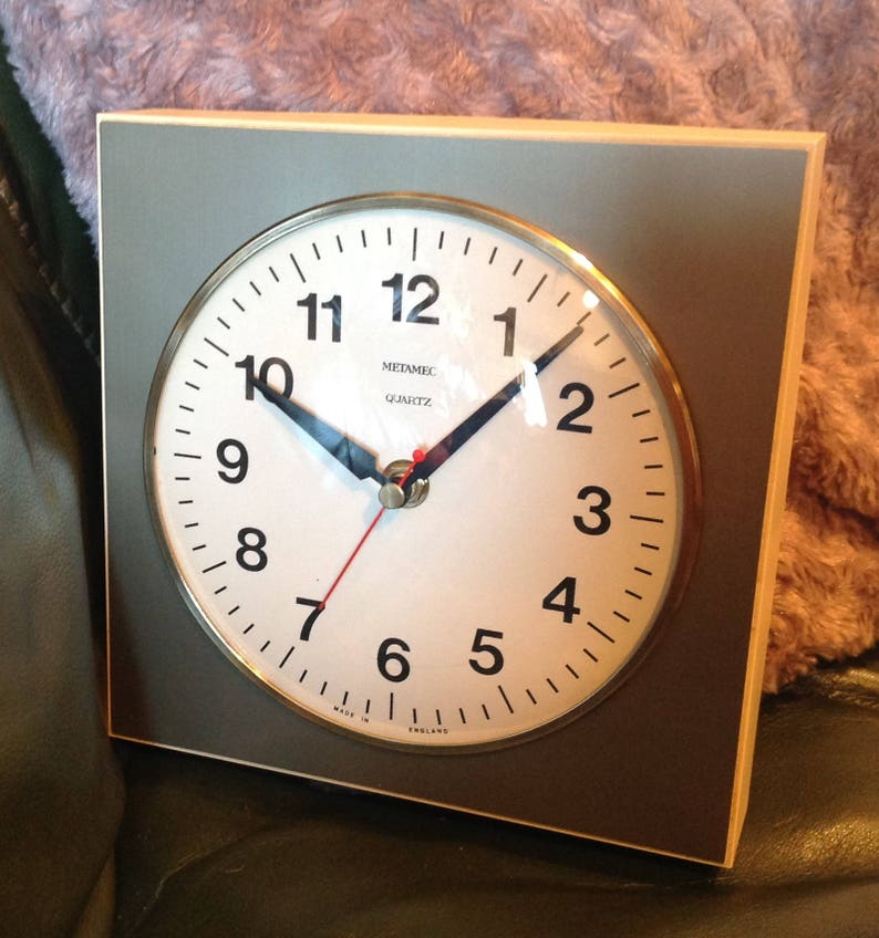 Metamec Kitchen Wall Clock Battery Operated Grey And Cream Etsy