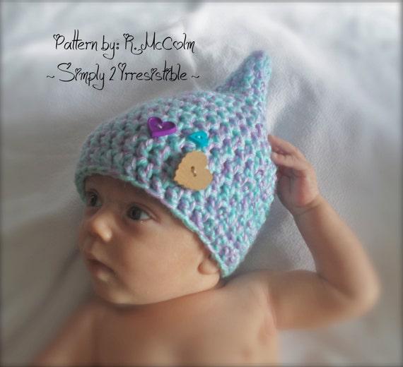 Gnome Pixie Elf Hat Crochet Pattern 24 Newborn To 12 Months