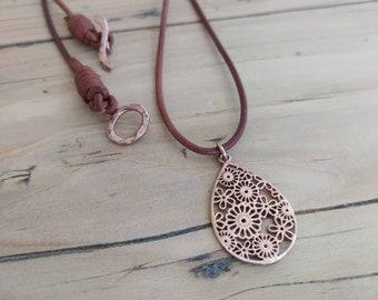 Rose Gold Pendant, Boho Rustic Necklace, Filigree Drop Choker, Karren Hill Flower Charm, 24k Gold Plated Hammered Toggle, Gift for her