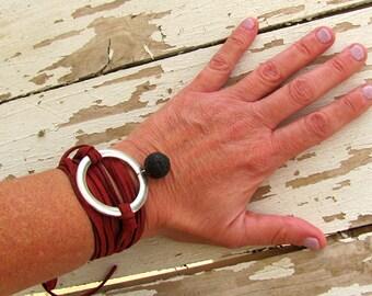 Statement Circle Bracelet, Modern Minimalist Geometric Jewelry, Glam Rock, Hot Red Leather Wrap, Bridal Shower gift, Versatile Necklace