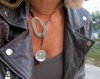 Long Boho Geometric Necklace, Modern Chic Jewelry, Statement Leather Choker Wrap, Asymmetric Design, Unique gift for wife, Edgy Jewelry