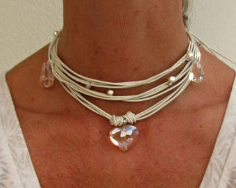 White Necklace for Wedding, Crystal Bridal Choker, For boho bride, Leather Wrap Jewerly for hippie brides, Beach Wedding Fashion, Enchanting