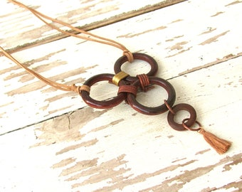 Wood Statement Necklace, Long Circle Necklace, Huge Leather Choker, Big and Bold Jewelry, Boho Tribal Chic, Modernist Necklace, Maximalist