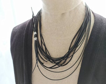 Black Chunky Necklace, Statement Cord Necklace, Bohemian Bib Necklace, Leather Layered Collar for Women, Special Jewelry for Mom, Boho Lady