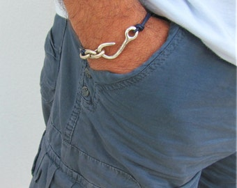Nautical Bracelet Men, Sailor Bracelet, Fish Hook Bracelet, Blue Navy Leather, Sea Bracelet, Today a Groom, Thank you gift for mentor, Boho