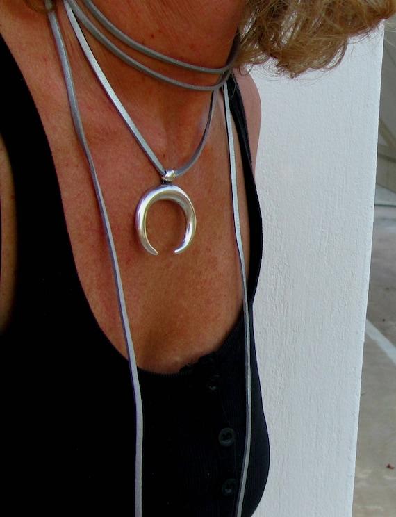 Metal Coin Fringe Crescent Y Necklace