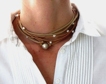 Leather Pearl Necklace, Sterling Silver Jewelry Boho, Silver Choker, Pearl Wrap Necklace, Boho Wedding Jewelry, Karen Hill Tribe Hammered