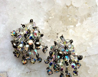 SALE Aurora Borealis Waterfall Clip On Earrings, Clip on crystal earrings, Crystal clear statement earrings, Bridal