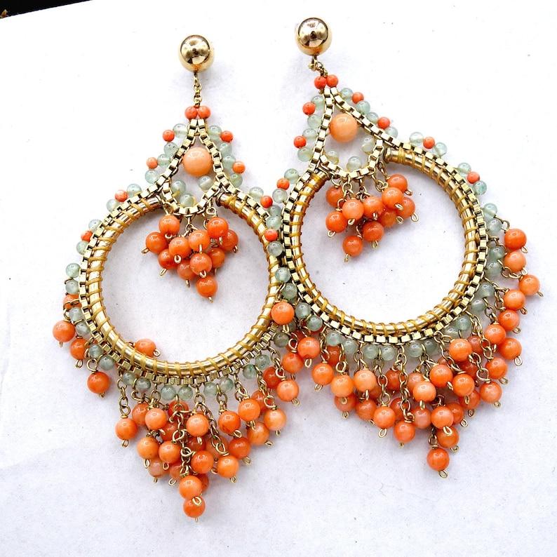 Statement Hoop Earrings Large Coral Chandelier Hoop Earrings Beach Party Earrings
