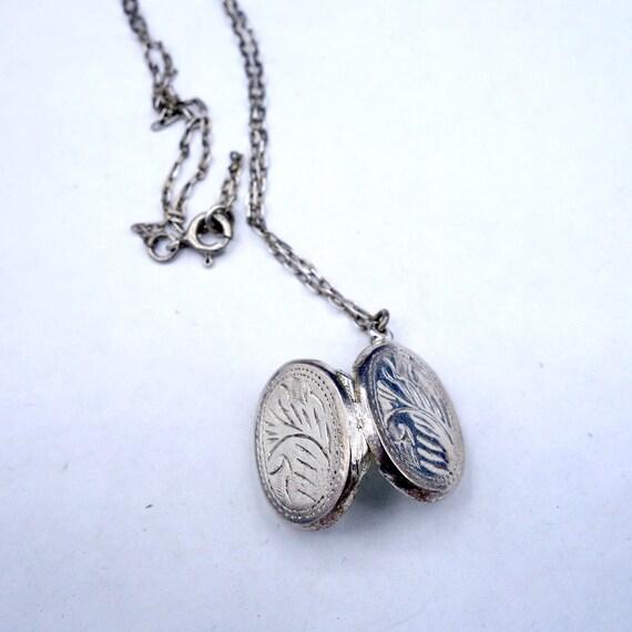 Petite Sterling Silver Locket, Vintage Silver Oval