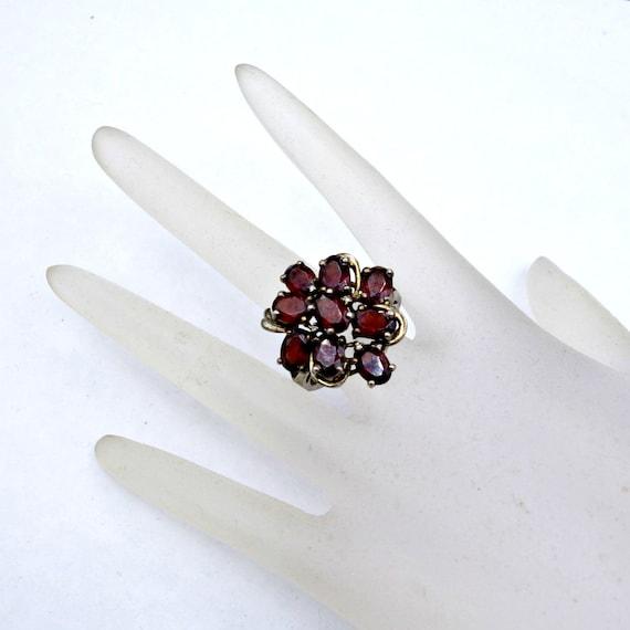Vintage Garnet Ring, Sterling Silver Garnet Statem