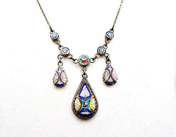 Victorian Micro Mosaic Drop Necklace, Antique Micr