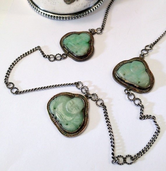 Carved Green Jade Buddha Sterling Silver Necklace