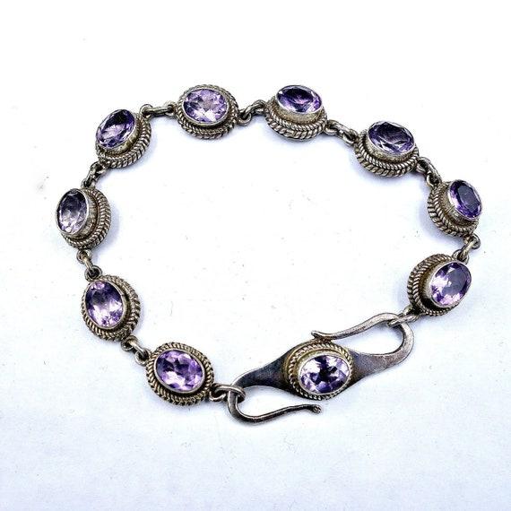 Amethyst bracelet,February birthstone 925 sterling silver bracelet Amethyst sterling silver bracelet gift for her vintage amethys bracelet