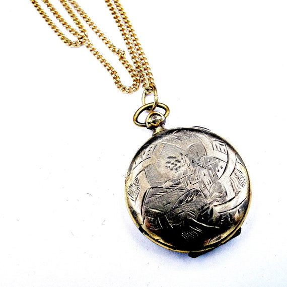 Victorian Gold Locket,  Etched 12k Gold Locket Fob