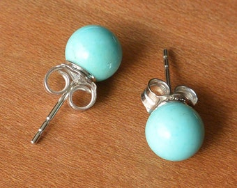 Light Blue Turquoise Stud Earrings, 6 mm or 8 mm Turquoise Bead on Silver or Gold Stud, Natural Light Blue Turquoise Mined from Arizona, USA