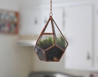 Hanging Teardrop Glass Terrarium with Door -- moss terrarium -- glass terrarium -- stained glass -- terrarium supplies -- eco friendly