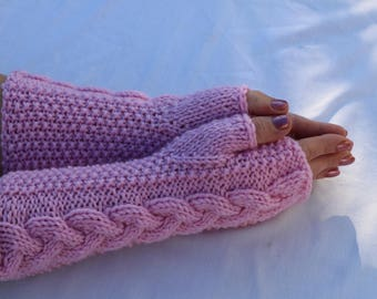 Fingerless Gloves. Mittens.Knit.Wool Cable Women's Winter Soft Warm Arm Warmers Gift.