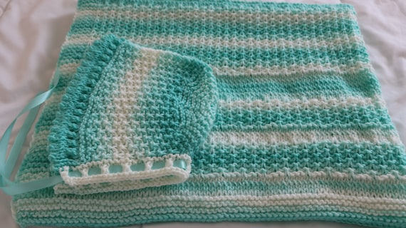 Knit Pattern Pdf For Baby Bonnet Blanket Mint Sorbet Baby Etsy