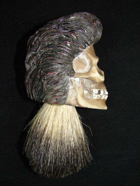 badger hair custom shaving brush skull design barber shop etsy