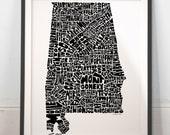 Alabama map art, Alabama art print, signed print of my original hand drawn Alabama typography map art