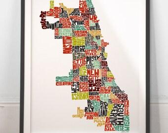 Chicago neighborhood map | Etsy on