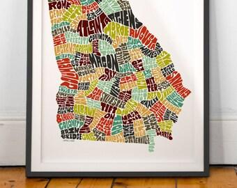 Georgia typography map, Georgia map art, Georgia art print, Georgia poster print, Georgia gift idea, hand drawn state typography series