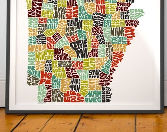 Arkansas typography map, Arkansas map art, Arkansas art print, Arkansas poster print, Arkansas gift idea, hand drawn state typography series