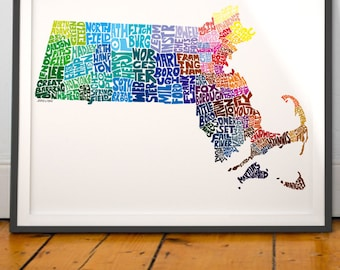 Massachusetts City Massachusetts Map Print, Massachusetts wall decor, Massachusetts typography map art