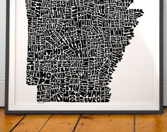 Arkansas map art, Arkansas art print, Arkansas typography map, Arkansas wall decor, Hand-drawn typography map art series signed print