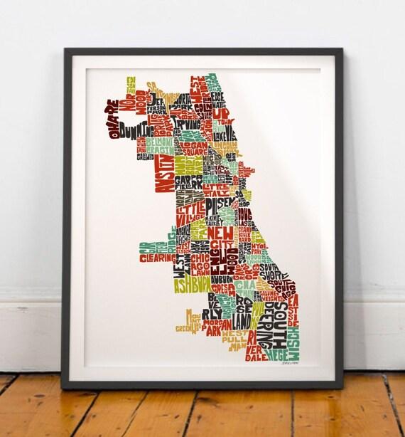 Chicago Typography Map Chicago Map Art Chicago Neighborhoods Etsy