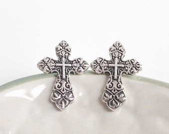 Sterling Silver Cross Earrings - Valentines Day Gift for Her - Confirmation Gifts for Girls - Christian Jewelry