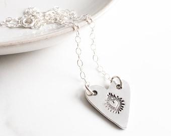 Sacred Heart of Jesus Necklace, Catholic Bridal Necklace, Milagro Heart, Catholic Jewelry, Sterling Silver Jewelry