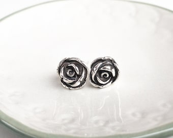 Rose Sterling Silver Stud Earrings - Mothers Day Gift from Husband - Everyday Earrings - Floral Earrings - Maid of Honor Gift