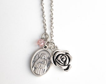 St Rose of Lima Necklace - Confirmation Gifts for Girls - Saint Medal - First Communion Gifts - Catholic Jewelry