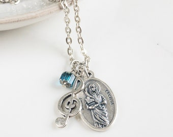St Cecilia Necklace- Gift for Musicians - Catholic Jewelry - Confirmation Saint Necklace - Catholic Gift for her- Confirmation Gift for Girl