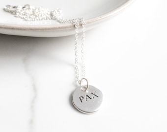 Minimalist Necklace Sterling Silver, Pax, Peace, Catholic Jewelry, Saint Francis of Assisi, Mothers Day Gift from Daughter