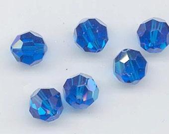 2d81c13e0 100 pieces Swarovski Element 5000 5mm Round Ball Beads Crystal CAPRI BLUE AB  Beads