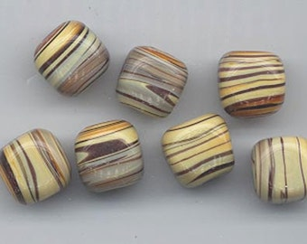 frosted swirled rounds with light coffee brown glass on the edges 6 vintage Japanese lampwork glass beads 14.5 x 14 mm