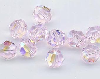 24 gorgeous Swarovski crystals - art 5000 - 6 mm - rosaline AB