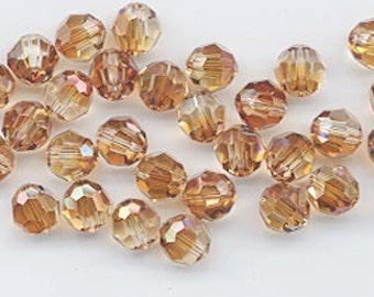24 gorgeous Swarovski crystals - art 5000 - 6 mm - crystal copper