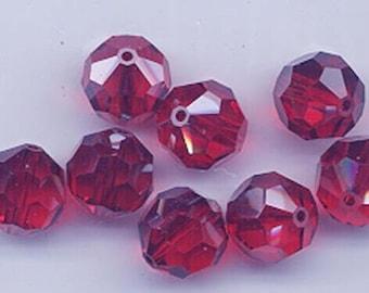 "12 Swarovski crystals with ""satin"" effect - art. 5000 - light siam satin - 10 mm"