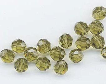 24 gorgeous Swarovski crystals - art 5000 - 6 mm - khaki