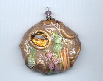 Gorgeous polymer clay pendant made by the acclaimed Barcelona artist Montse