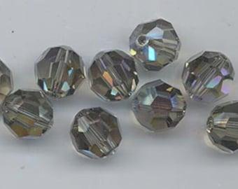 24 gorgeous Swarovski crystals - art 5000 - 6 mm - black diamond AB
