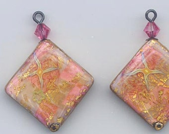 Gorgeous polymer clay bead pair for earrings -  made by the acclaimed Barcelona artist Montse