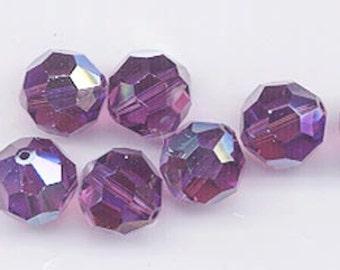24 gorgeous Swarovski crystals - art 5000 - 6 mm - amethyst AB