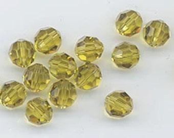 24 gorgeous Swarovski crystals - art 5000 - 6 mm - lime